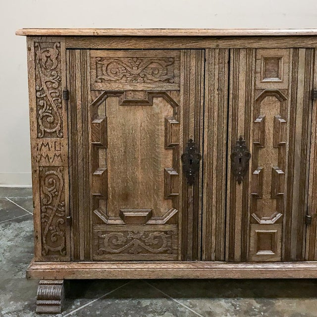 19th Century English Stripped Oak Buffet For Sale - Image 9 of 13