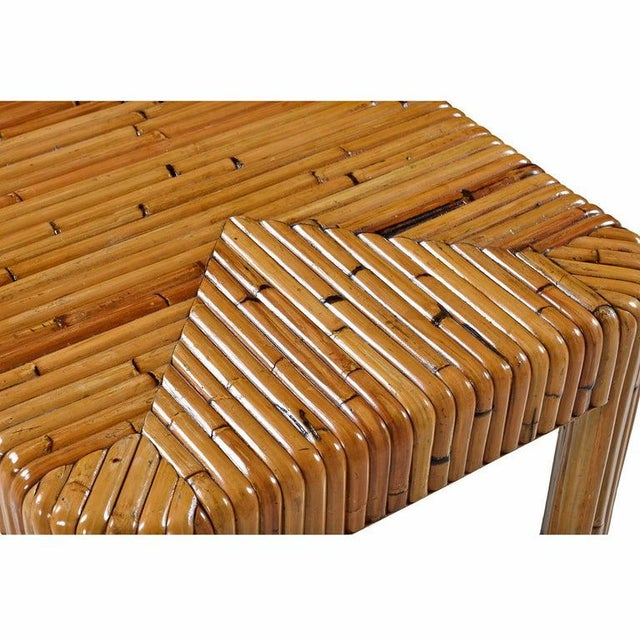 Vintage Rattan Bamboo Coffee Table For Sale - Image 4 of 8