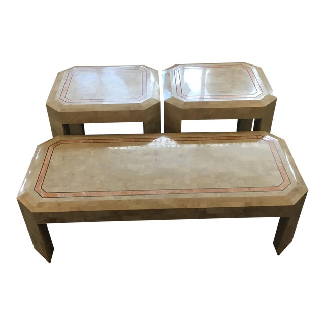 Tessellated Fossil Coral Cocktail & End Tables - Set of 3 For Sale