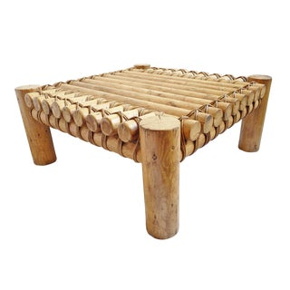 Square Log Raft Coffee Table For Sale