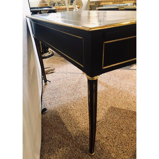 Ebony Jansen Style Hollywood Regency Bronze Mounted Writing Table or Desk For Sale - Image 11 of 13