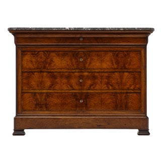 Antique French Louis Philippe Marble Top Chest For Sale