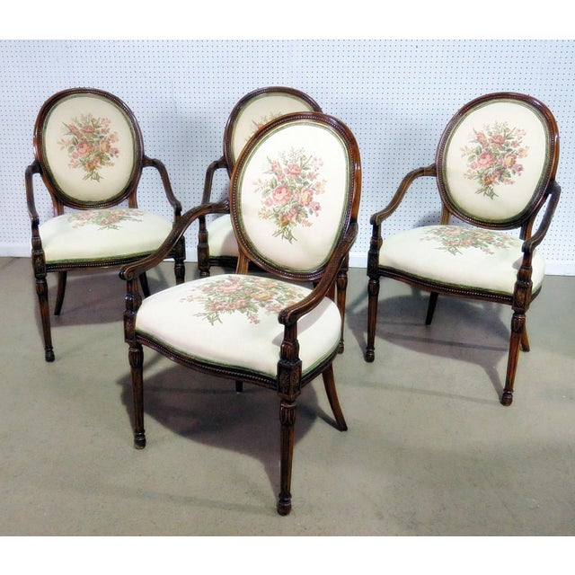 Set of 4 Adams Style Arm Chairs For Sale - Image 9 of 9