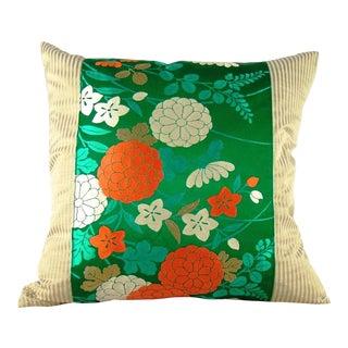 Antique Emerald Green Floral Japanese Silk Obi Pillow Cover