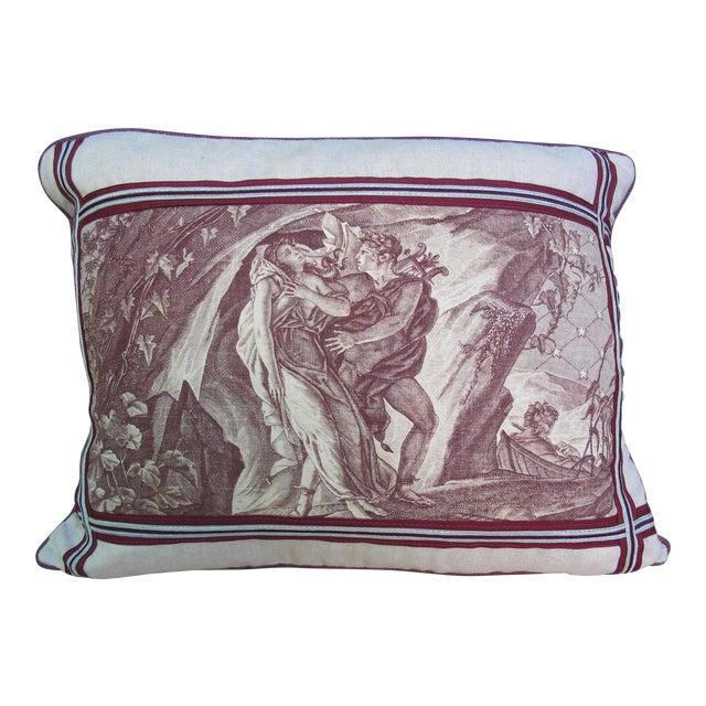 """Antique Toile de Jouy """"The Rapture"""" Pillow For Sale"""