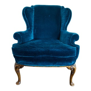 Original Queen Anne Chair in Mohair For Sale