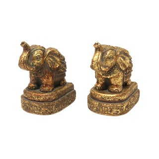 Sculptural Gold Elephant Bookends For Sale