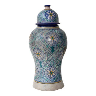 Moroccan Ceramic Lidded Urn from Fez For Sale