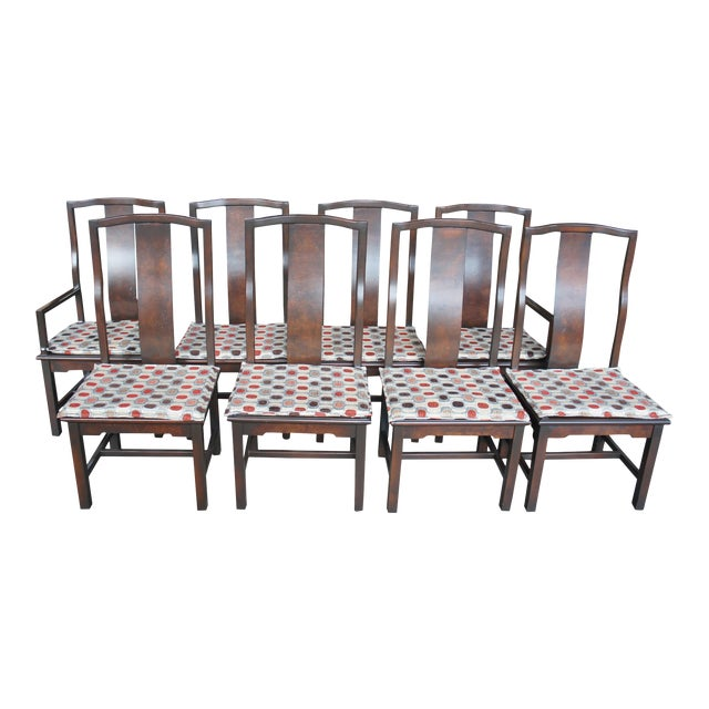 1970s Vintage Century Furniture Chinese Ming Style Burlwood Asian Dining Chairs- Set of 8 For Sale