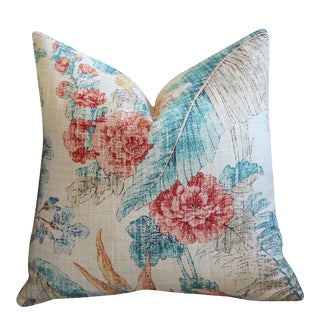 Peach + Teal Tropical Woven Pillow Cover 20x20 For Sale
