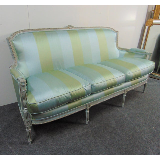 French Louis XVI Hand Carved Blue Painted Silk Sofa For Sale - Image 3 of 11