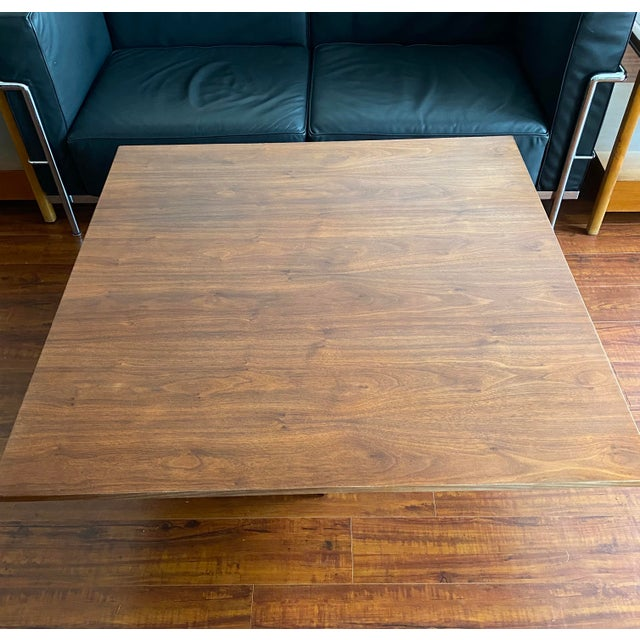 Mid-Century Danish Modern Walnut Square Coffee Table Octagonal Base For Sale - Image 9 of 11