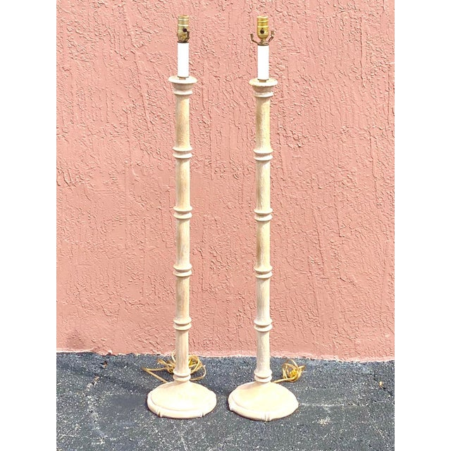 Coastal Vintage Coastal Carved Bamboo Floor Lamps - a Pair For Sale - Image 3 of 10