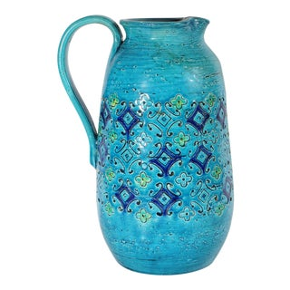 Bitossi Italian Blue Pitcher With Incised Floral Design For Sale