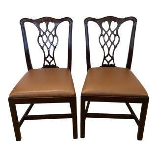 Modern Cherry Stained Wood Cabot Wrenn Chairs- a Pair For Sale