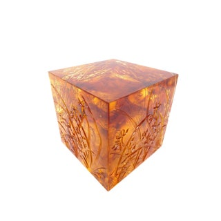 Liuligongfang Amber Crystal Cube, Signed Liuli Fish For Sale