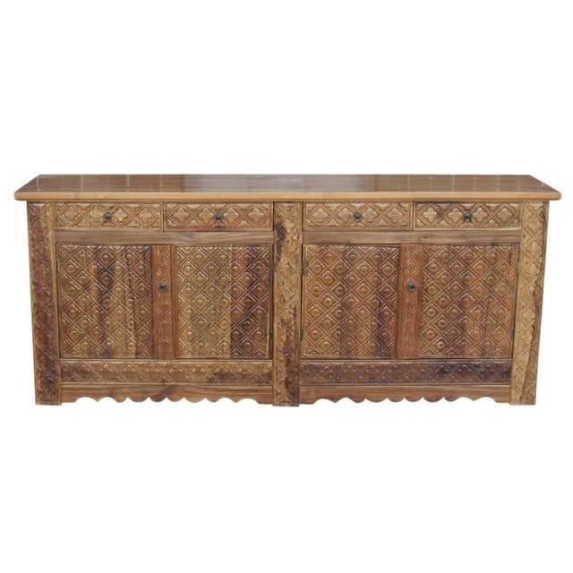Diamond Carved Enfilade Teak Wood Buffet - Image 1 of 9