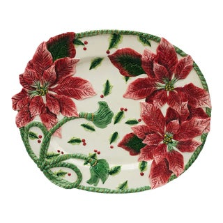 Late 20th Century Fitz and Floyd Poinsettia Platter For Sale