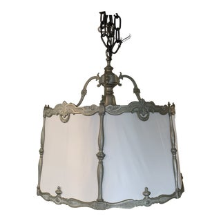 Vintage Deco Silver and Ivory Silk Drum Chandelier For Sale