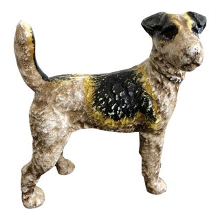 Cast Iron Airdale Fox Terrier Still Bank