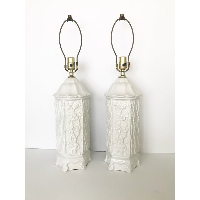 Vintage Chinoiserie Ceramic Pagoda Lamps - A Pair For Sale - Image 10 of 10