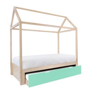 Domo Zen Full Trundle Canopy Bed in Maple With Mint Finish For Sale