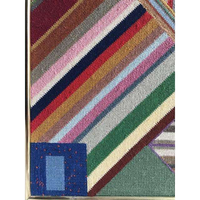 """Large Geometric Colorful Original Needlepoint Art - 36.35"""" x 22.25"""" - Image 5 of 11"""
