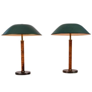 1940s Finnish Brass and Leather Table Lamps With Shades - a Pair For Sale