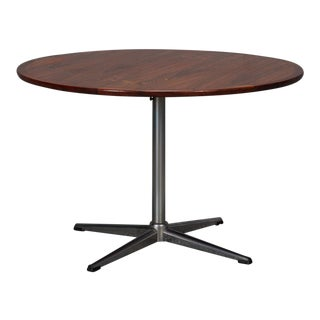 Round Rosewood & Chrome Pedestal Base Coffee Table For Sale