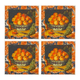 Peaches Dinner Napkins - Set of 4 For Sale