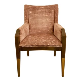 Hickory Chair Co. Modern Blush Cut Velvet Tate Arm Chair For Sale