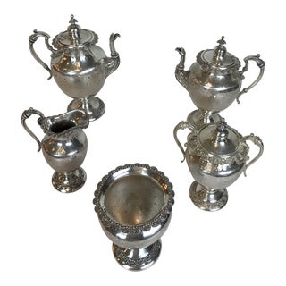 Victorian Sheffield Floral Hand Chased Silver Plated Tea Coffee Set - 5 Piece Set For Sale