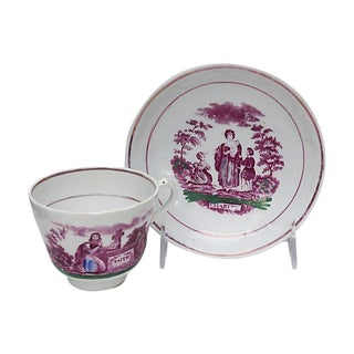 Antique English Lustre Cup & Saucer For Sale