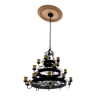 20 Light Wrought Iron Three-Tiered Chandelier For Sale