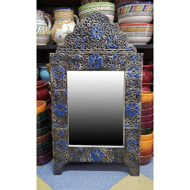 Moroccan Ultra Arched Metal Inlaid Mirror, Rabat, Dark Blue Motif For Sale In Orlando - Image 6 of 7