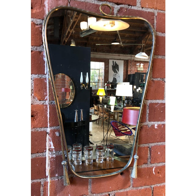 Italian Curvilinear Brass Mirror, 1950s For Sale - Image 4 of 9