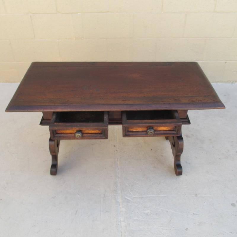 Spanish Revival Antique Two Drawer Coffee Table Bench   Image 4 Of 8