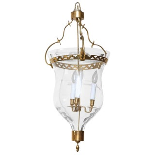 Gustavian Style Glass Bell Jar Lantern With Brass Details, 20th Century