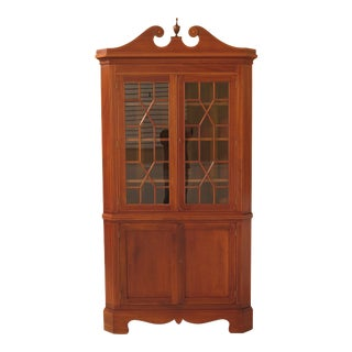 1940s Federal Biggs Large Mahogany Federal Corner Cabinet With Inlay For Sale