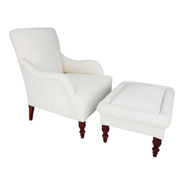 Vintage Club Chair & Ottoman - A Pair - Image 1 of 8