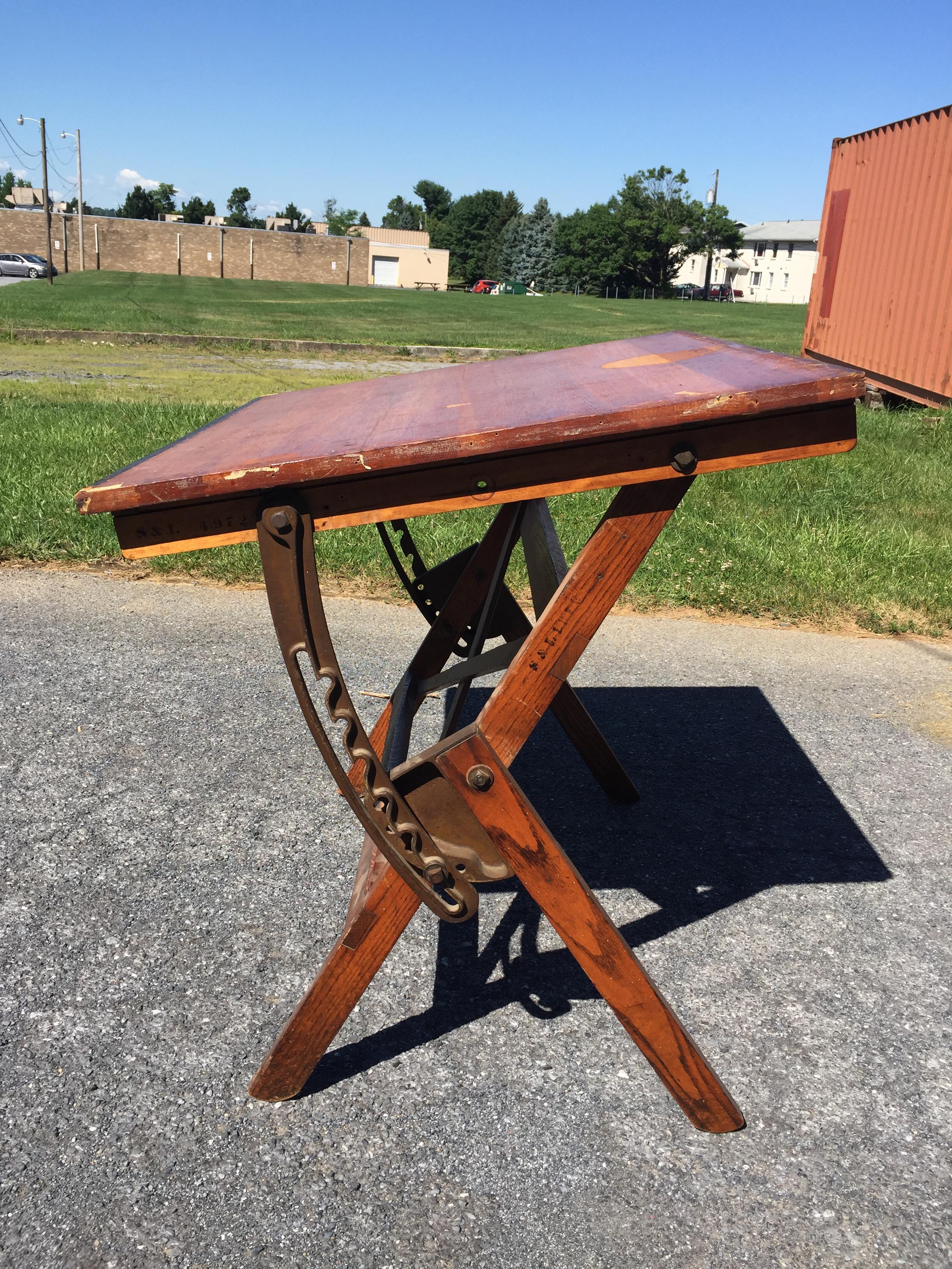 Vintage Industrial Wood U0026 Cast Iron Tilt Top Drafting Table   Image 10 Of 11
