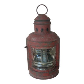 1920s Red Kerosene Lantern For Sale