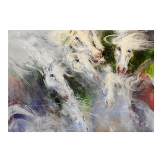 """""""V Horse Profiles Shown in Various Directions"""" Oil Painting, Whites, Greens, Red For Sale"""