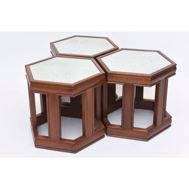 Modern Mahogany and Mirrored Occasional Tables For Sale - Image 3 of 9