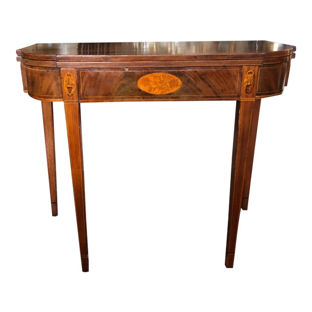 1780 Hepplewhite Inlayed Mahogany Game Table For Sale