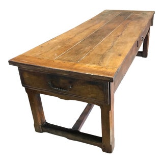 Early French Country Walnut Farmhouse Table For Sale