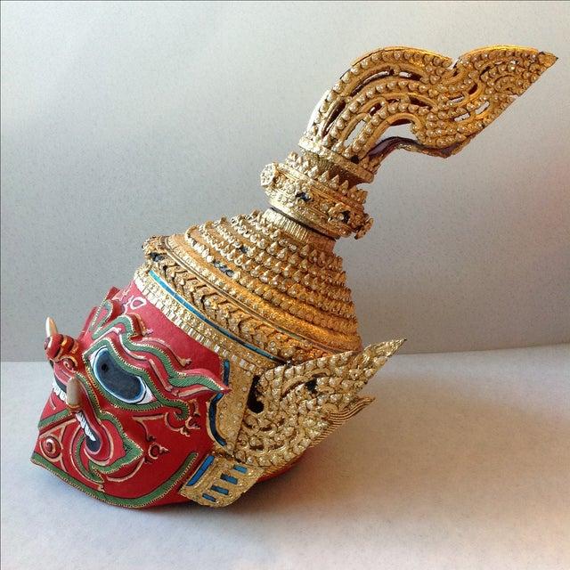 Antique Thai Demon Khon Mask - Image 5 of 11