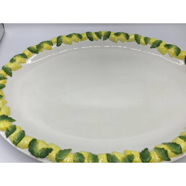 Modern 1960s Italian Ceramic Serving Tray With Sculptural Lemon Motif Border For Sale - Image 3 of 10
