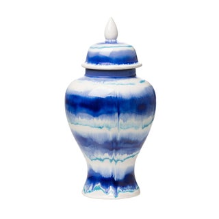 Small Watercolor Lidded Ceramic Urn