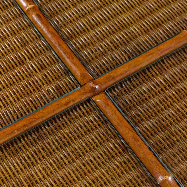 1970s 1970s Modern Glass Panel Reed Rattan Bamboo Coffee Table For Sale - Image 5 of 8